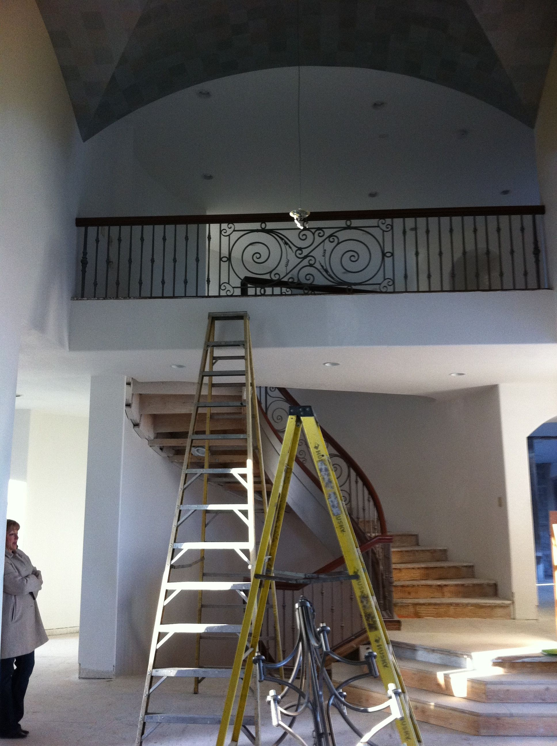 custom stair railing, custom stairway, work in progress