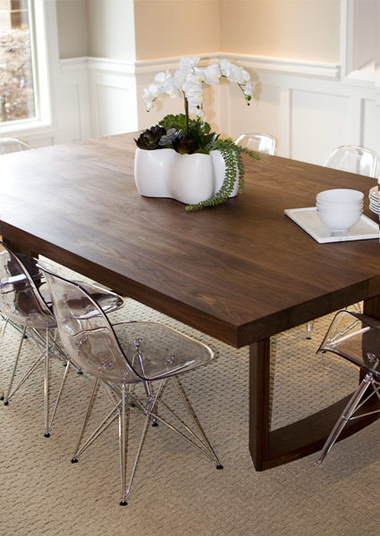Portland made contemporary dining table, modern dining room inspiration, cutting-edge brown dining room table