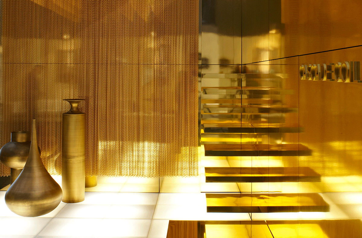 gold room dividers, alternative room dividers, transparent room dividers