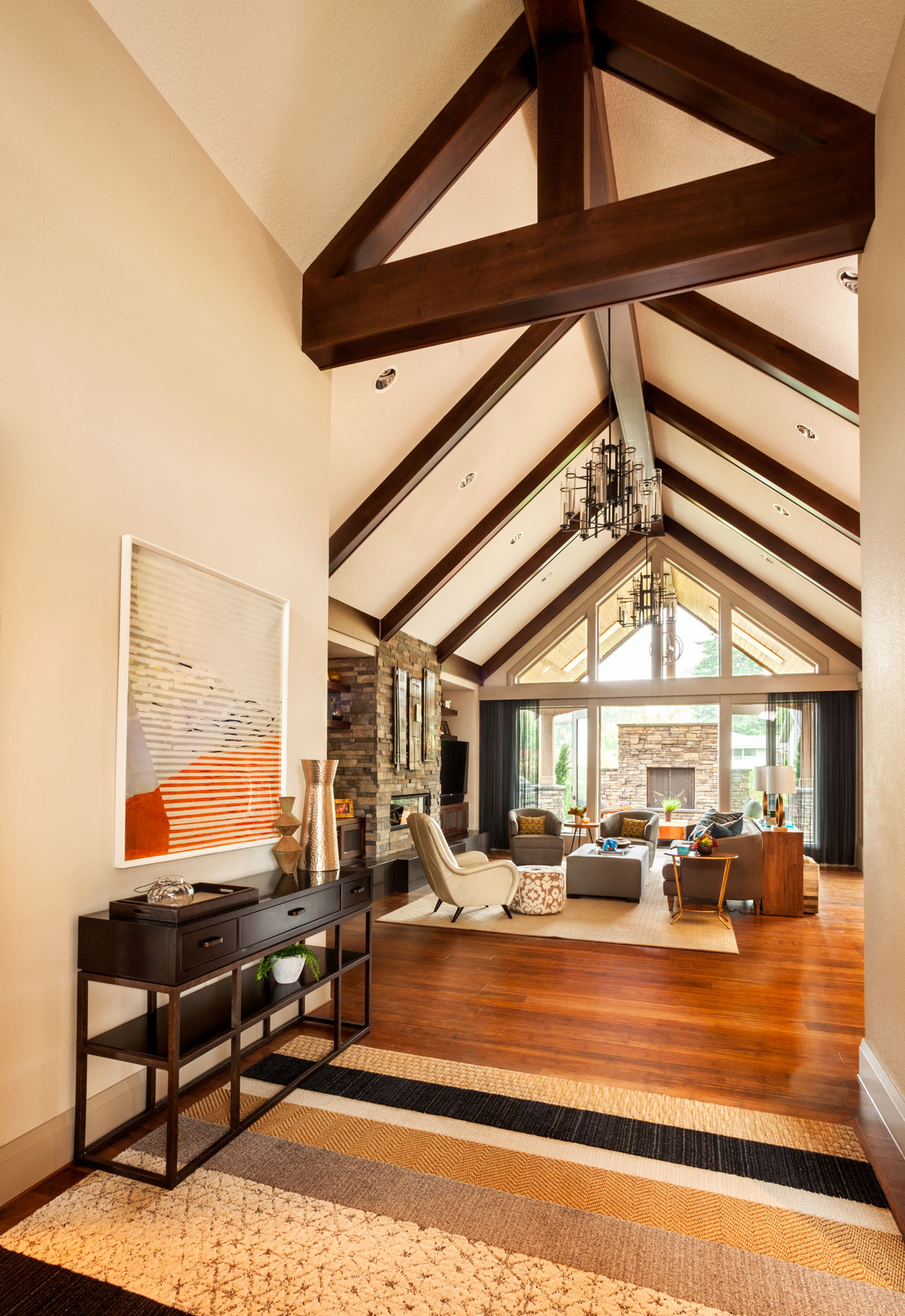 rustic interior design, exposed beamed living rooms, pacific northwest interiors
