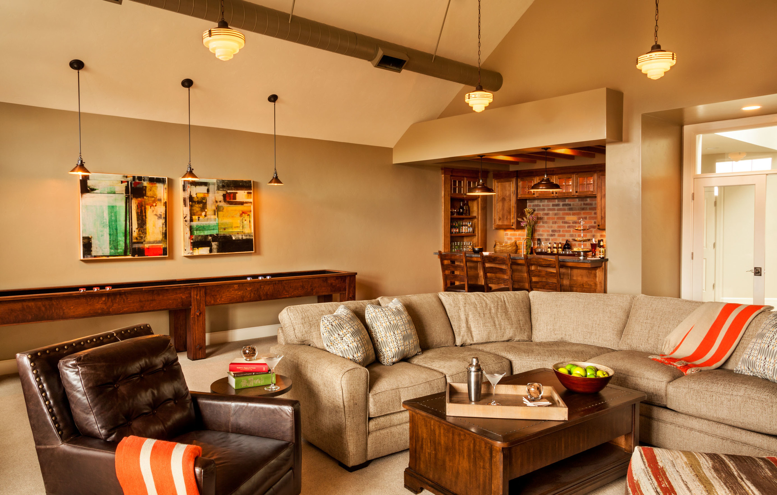 large comfortable living room, at home bar, best sophisticated man caves