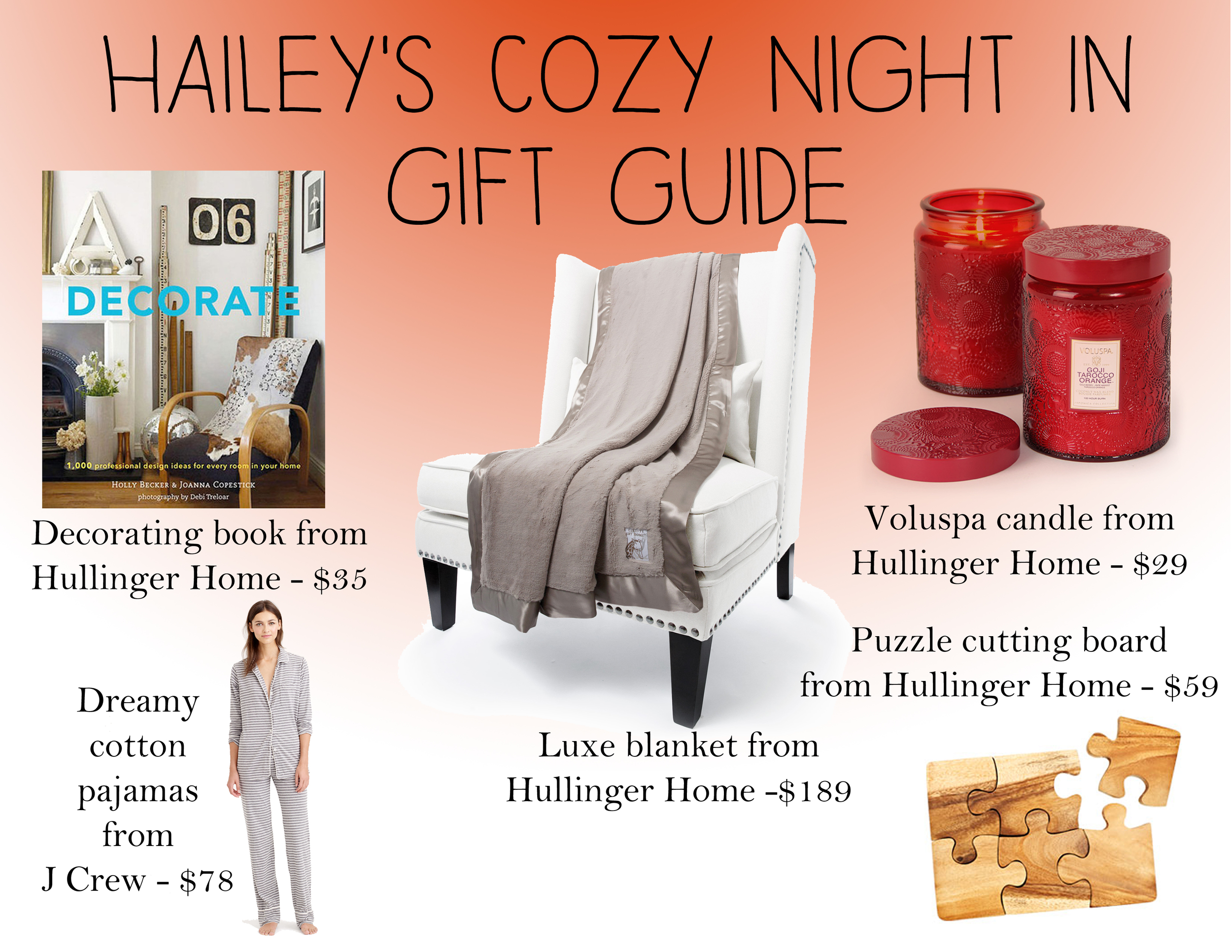 cozy night in, designer gift guide, holiday gift guide