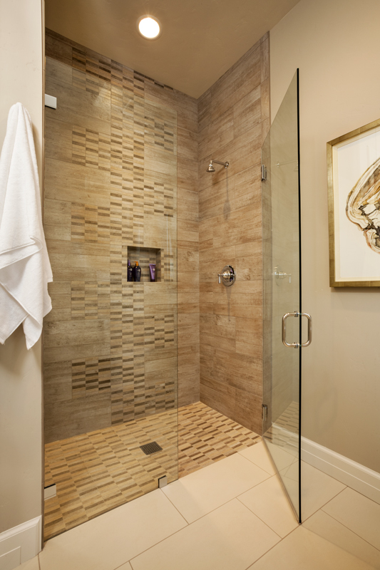 glass shower, clear shower, make room seem bigger
