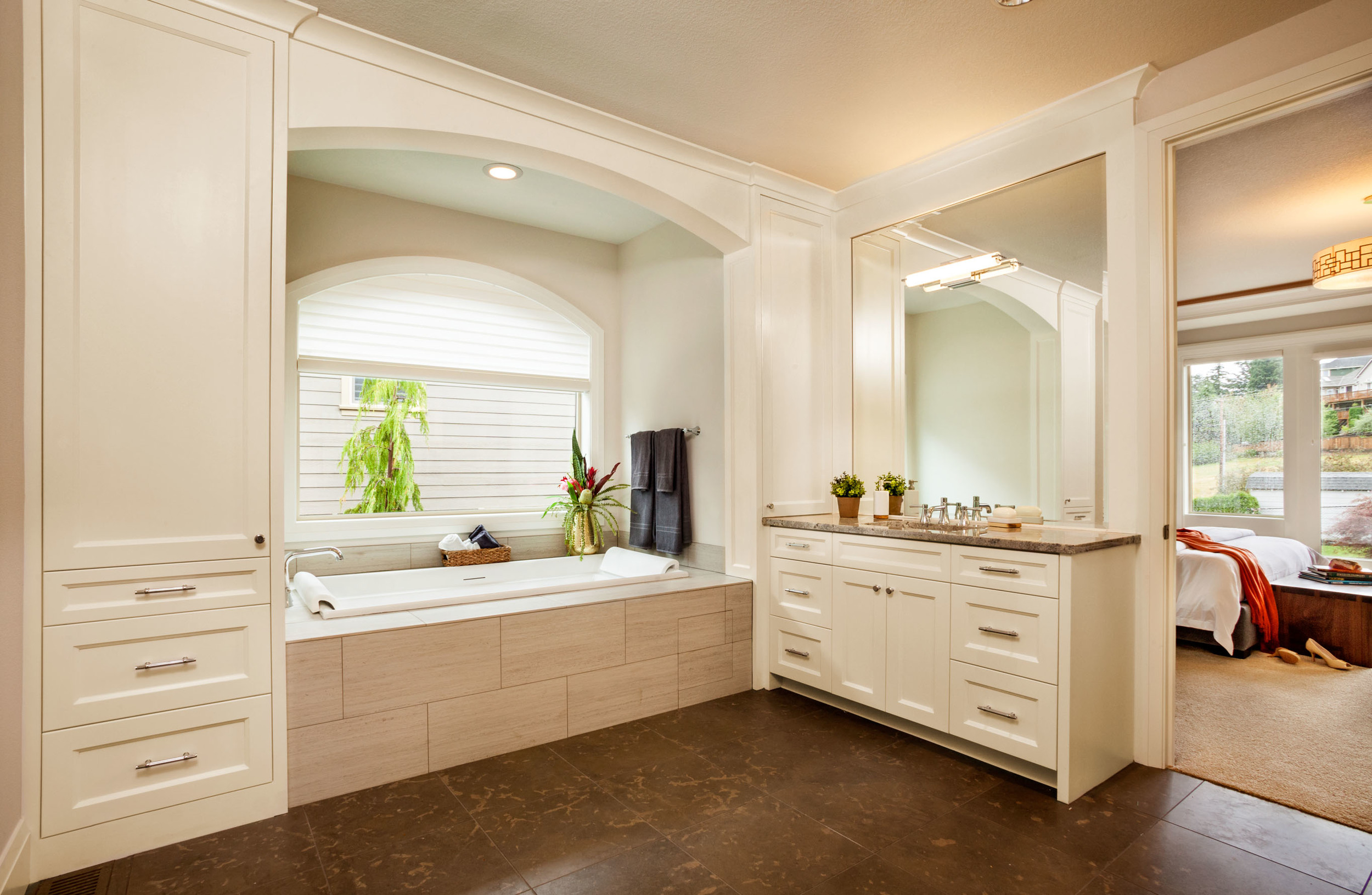 trilliums open and simple master bath