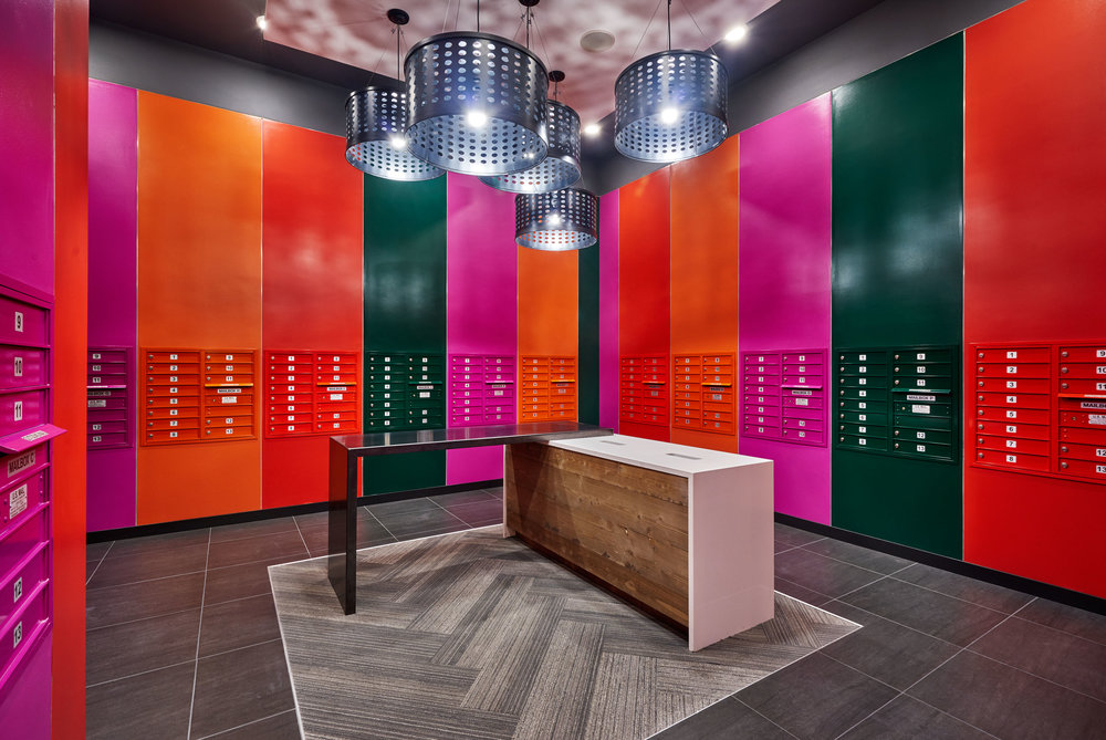 Pictured: Mail Room Materials/Vendors used:  Deform, Caesarstone, Montana Ghost Wood, Interface