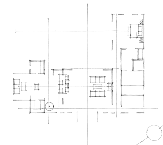 This initial sketch shows the center axis of the home and relationship between the living room and kitchen. Another axis line is drawn to the master suite.
