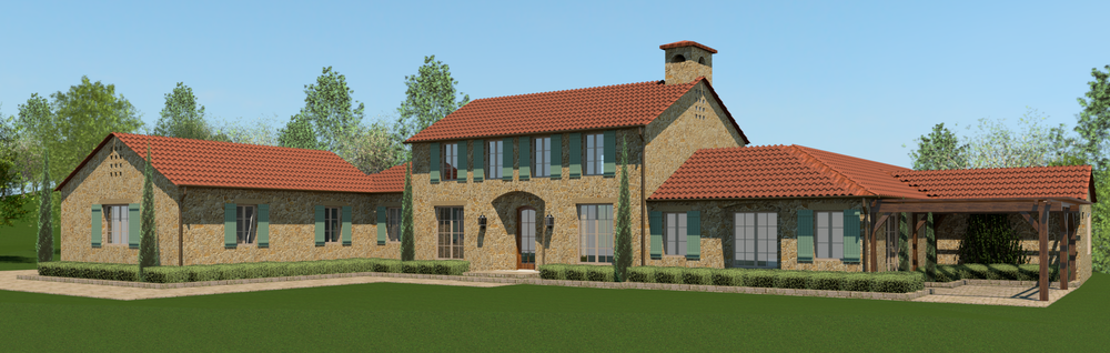 Color exterior rendering of the client's home. Plans really make sense when you are able to see the home inside and out!