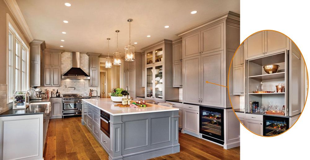 Bar items are stored above the wine refrigerator and sliding pocket doors keep them out of the way while entertaining.