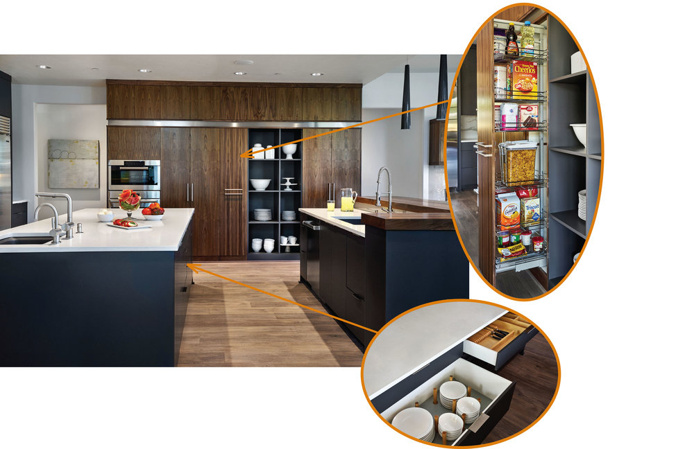 "In the ""serving area,"" frequently used pantry items are stored in an easy pull-out cabinet and the day-to-day dishes and silverware drawers have added organizational features."