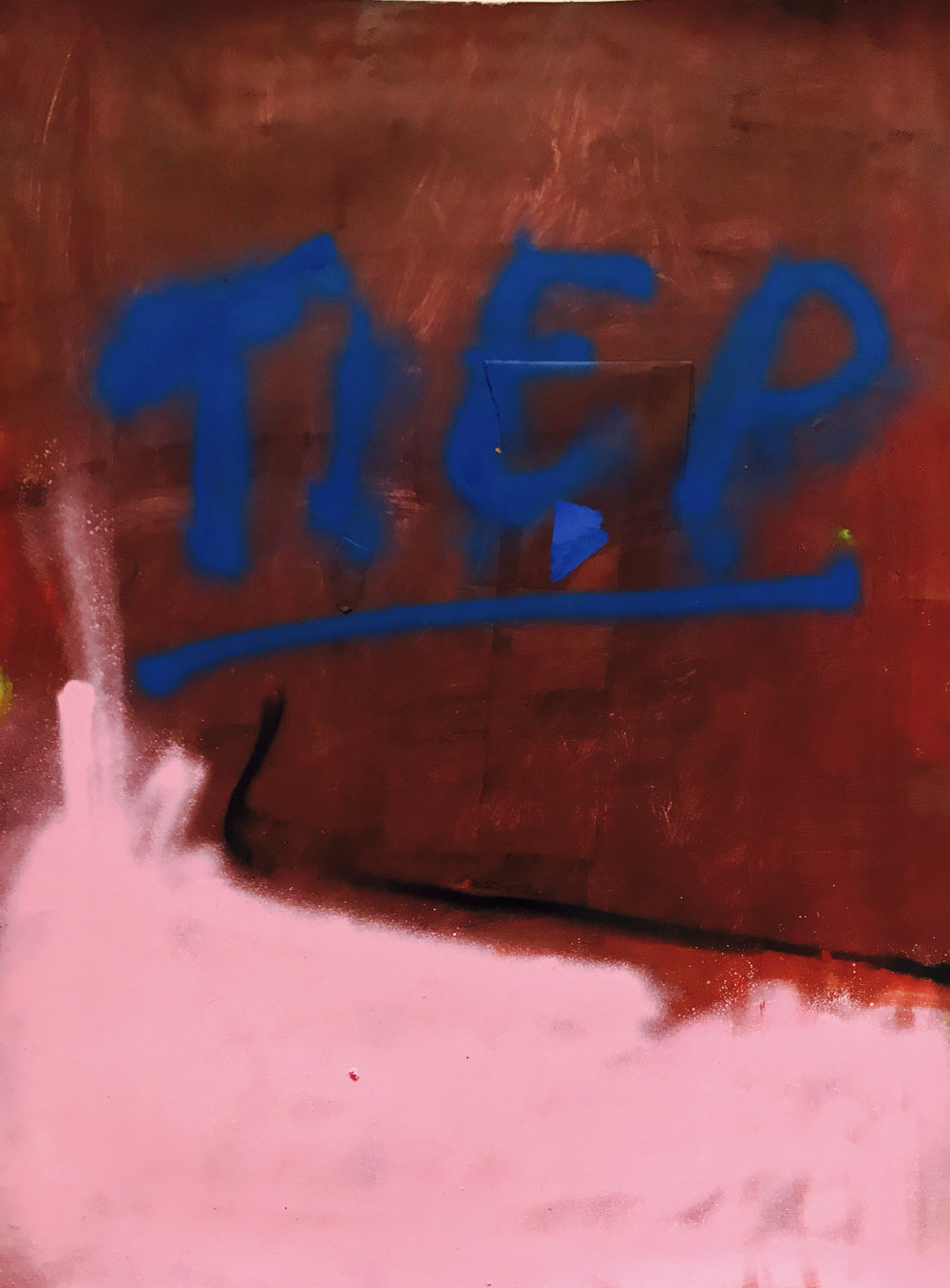 Tiep (Sleep), oil paint, oil stick and spray paint on paper, 29 x 21.5 in, 2017   Price on request