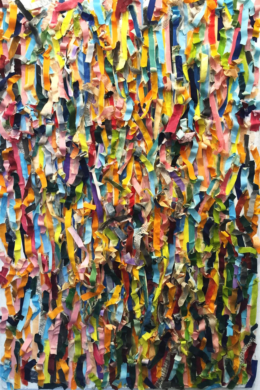 Deurmekaar, painted tape on board,52 x 36 in,2016   Price on request