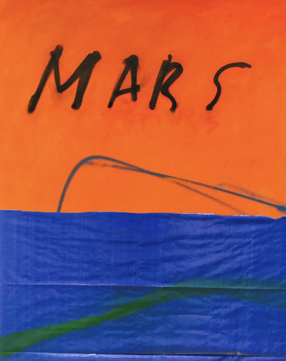Mars, oil paint, oil stick and spray paint on canvas and synthetic fabric,52 x 42 in,2017   Price on request