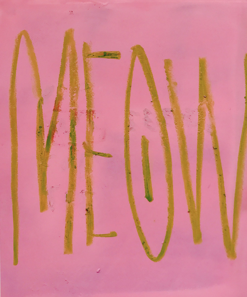 Meow, oil stick and spray paint on paper, 17 x 14 in, 2017   Price on request