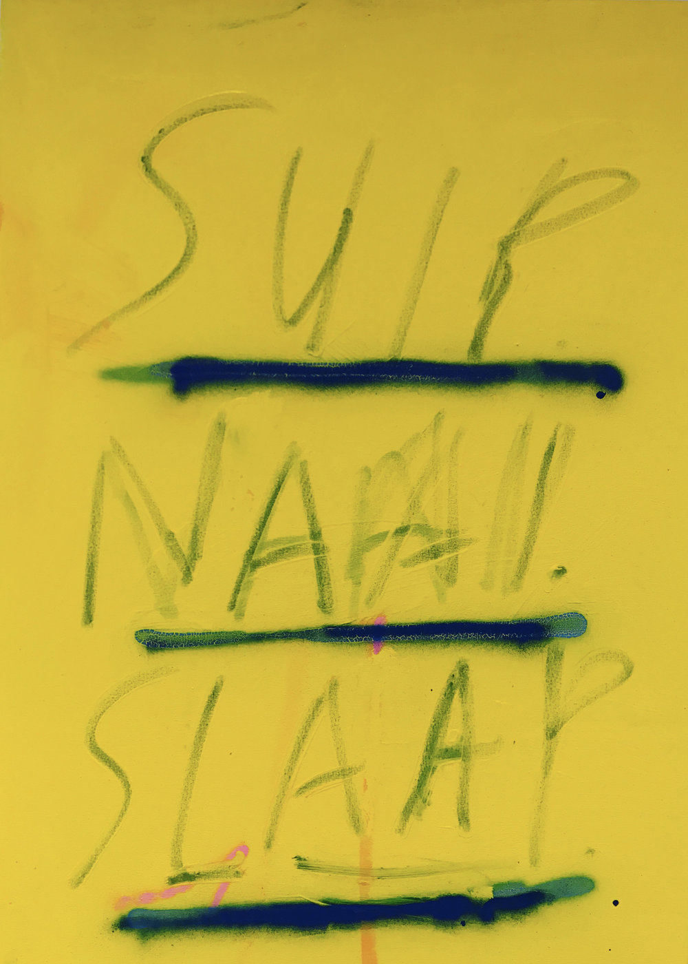 Suip, Naai, Slaap, (Drink, Sex, Sleep) acrylic, oil stick and spray paint on canvas, 44 x 32 in, 2017   Price on request