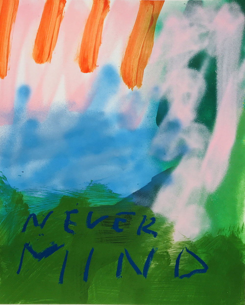 Never Mind, 2018 Acrylic and spray paint on paper, 24 x 18 inches.