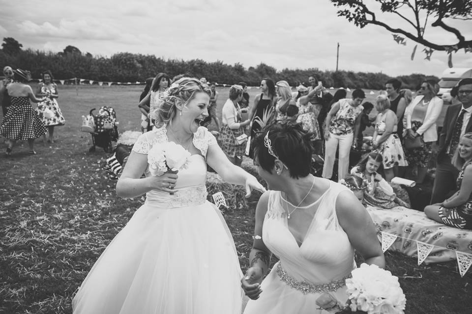 Lisa and Fliss's rustic wedding at Cattow's Farm