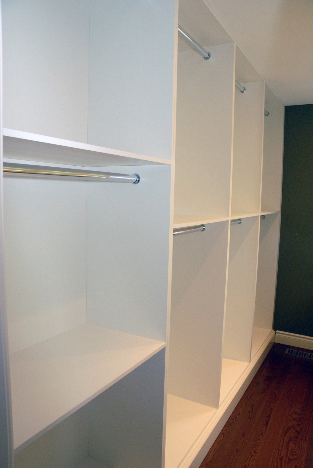 Open shelving for hanging storage of pants, shirts and full height clothing