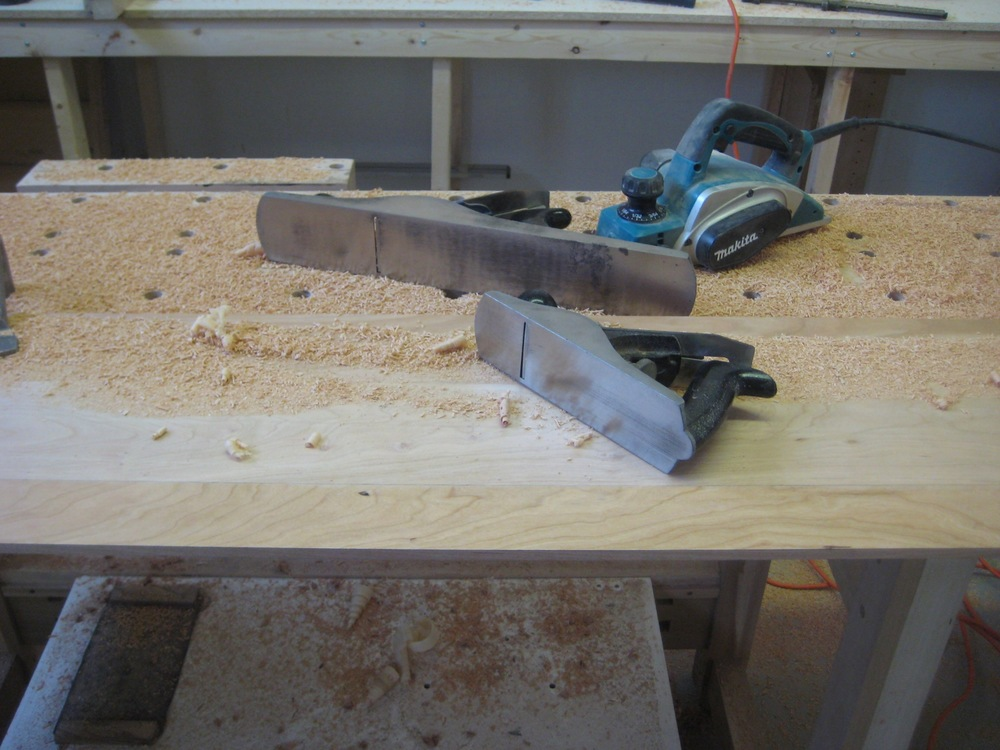 Here I started by laying out the bevel, and then using the power plane, my big No. 8 jointing plane and my No.4 smoother to finish the job