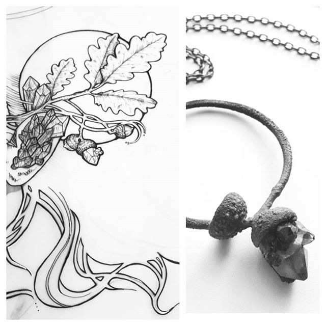 When you subconsciously draw your own necklace. This guy is still available btw! * * * #acorn #fall #copper #copperplating #circle #witchy #acornnecklace #amethyst #amethystnecklace #ink #drawing #artneversleeps #inkdrawing #oakleaves #crystals #crystalnecklace