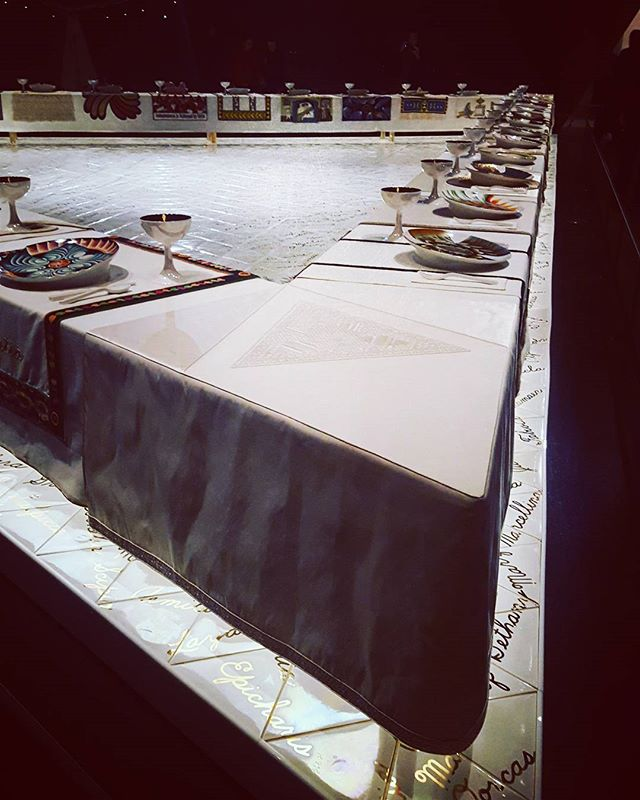 The Dinner Party by Judy Chicago at the Brooklyn Museum. Very humbling how much work went into this, and what it meant at the time it was created. * * * #Feministart #judychicago #thedinnerparty #contemporaryart #brooklynmuseum #triangles