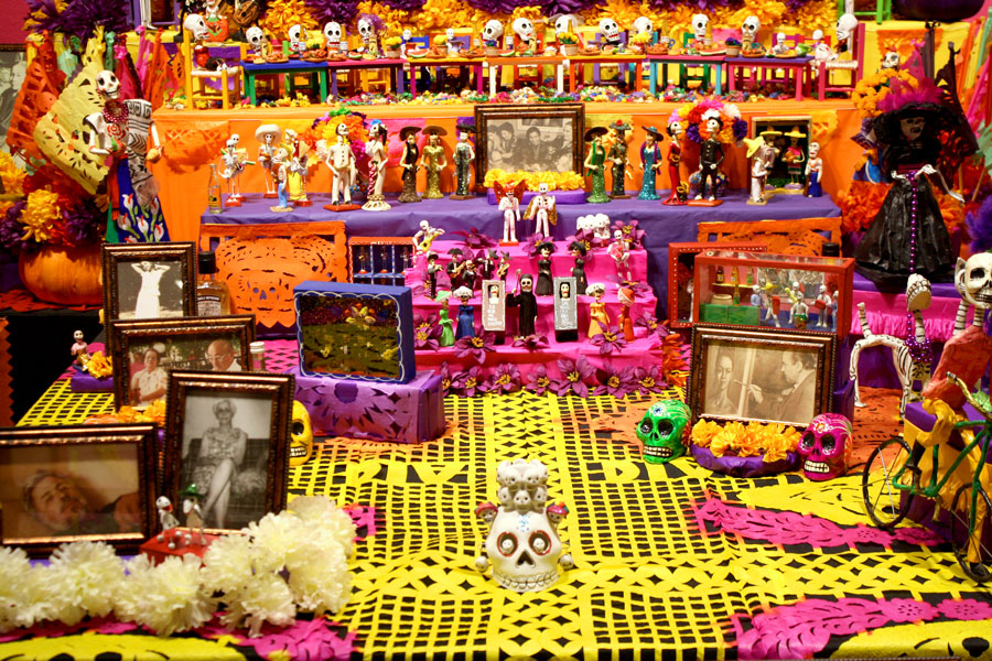 Mexico City Altar by Kateri Aragón and Deidre Kateri Aragón (Sponsored by Live The Language), 2015, Mexic-Arte Museum. Photo by Sixto-Juan Zavala.
