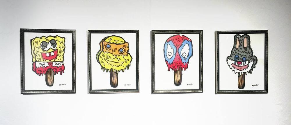 "Image: John Medina; Bob, Melting Mikey, Spidey, Bugs ; 2015. Digital Print. 10"" x 8""."