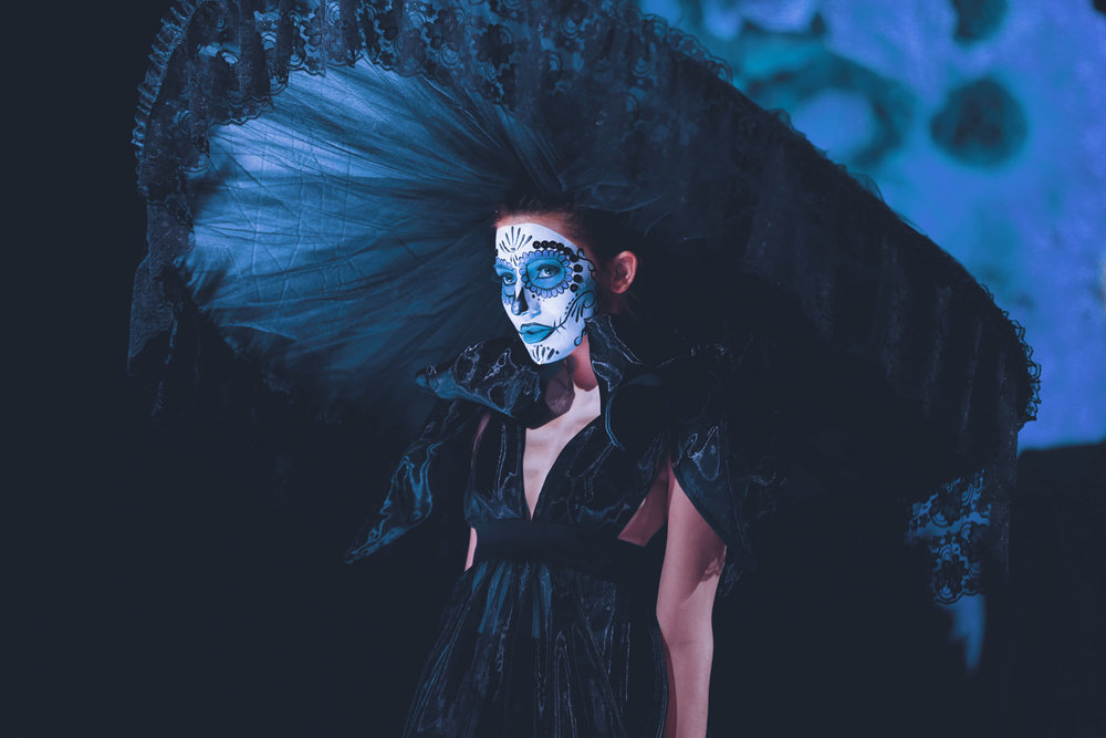2015 Catrina-inspired fashion design by Midi Soliz. Photo by Krystal Malloy.  Model: Callisto Grifith.
