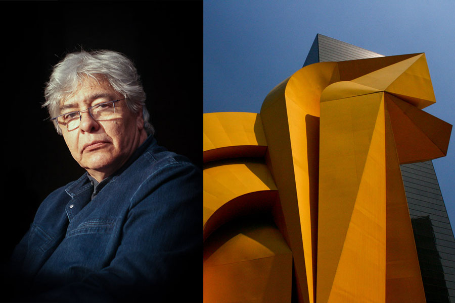 Image: Master sculptor Enrique Carbajal - Sebastián. Photo by Mario Rodríguez Cruz. Image right: Sebastián, El Caballito. Photo by Jubilo Haku.