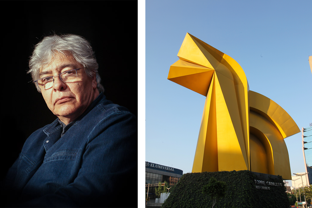 [Left] Master sculptor Enrique Carbajal - Sebastián. Photo by Mario Rodríguez Cruz. [Right] Sebastián, Caballito (detail), 1991, Iron and acrylic enamel. (Courtesy Fundación Sebastian, A.C.)