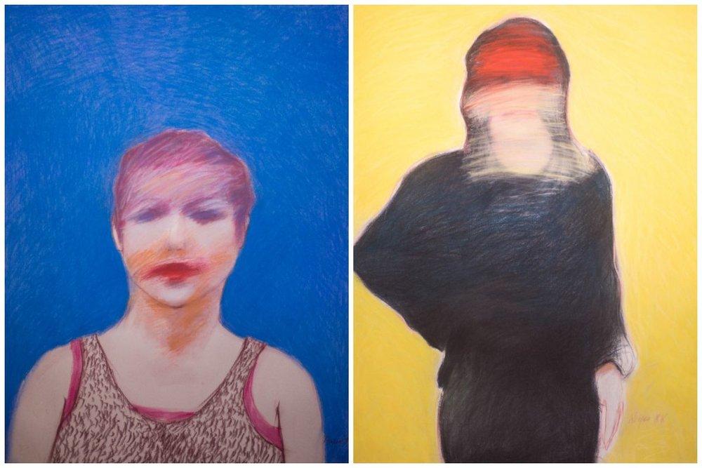 "Left:  Felipe Reyes, ""Carmen"", pastel, 1987.  Right:  Felipe Reyes, ""Figure with Black Dress Looking Inward"", pastel, 1988."