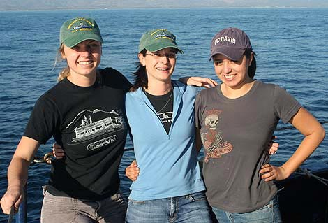 Sarah Moffitt, Tessa Hill, and Sarah Flores at sea in the Santa Barbara Channel