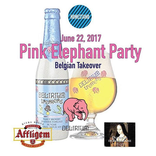 The pink elephant is almost here! If you love Belgian and Flanders style ales, this event is not to be missed. $5 pours, giveaways and brewery reps on hand to give tasting notes and talk beer.  Rejoice! 🍻 🌈 . . . #DeliriumTremens #AffligemBlonde #DuchesseDeBourgogne #Flanders #belgianbeer #beerstagram #beernerd #prideto