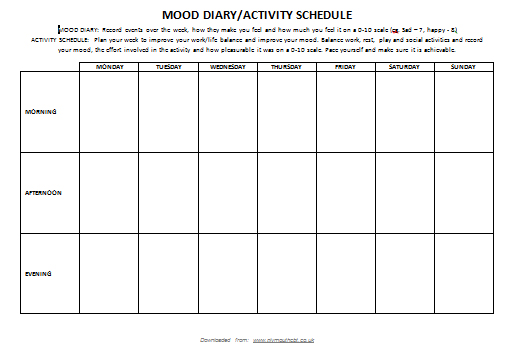 Mood Diary/Activity Record
