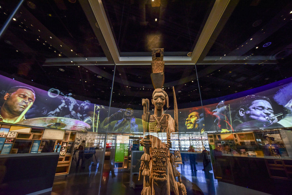 "CULTURAL COMMONS OVERHEAD RING.  A large-scale dramatic media presentation introduces Cultural Expressions and all galleries on the Culture floor, focusing on culture ""writ large"" and as a form of survival and expression.   Photo credit:  The Washington Post via Getty Images"
