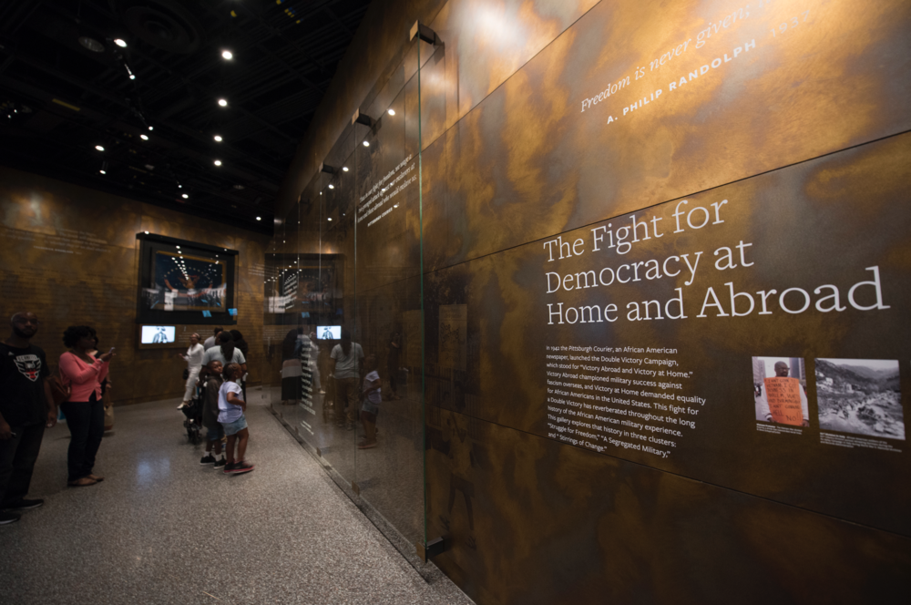 DOUBLE VICTORY. The Military gallery establishes an understanding that the African American military experience shapes opportunities for the greater community and has profoundly shaped the nation.  Photo credit: Luka Kito