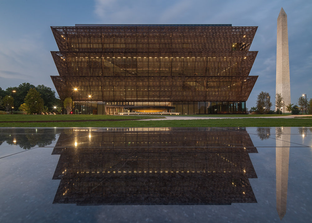 NMAAHC sits on five acres on the National Mall, close to the Washington Monument.  Photo credit: Ron Blunt