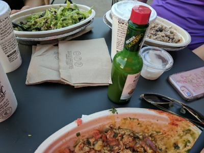 The great thing about exercise with the girls is dinner after!  Chipolte for the win, and yes, we entered it into Myfitnesspal app.