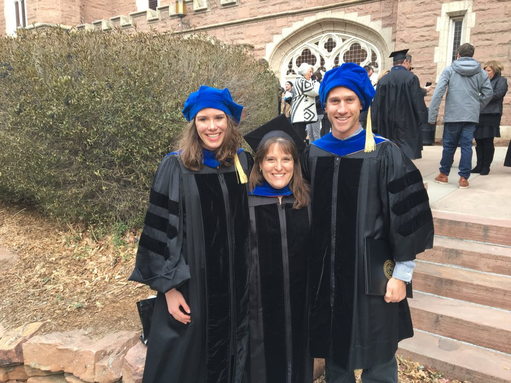 New Drs. Sarah Welsh-Huggins and Cody Harrington, with Abbie Liel