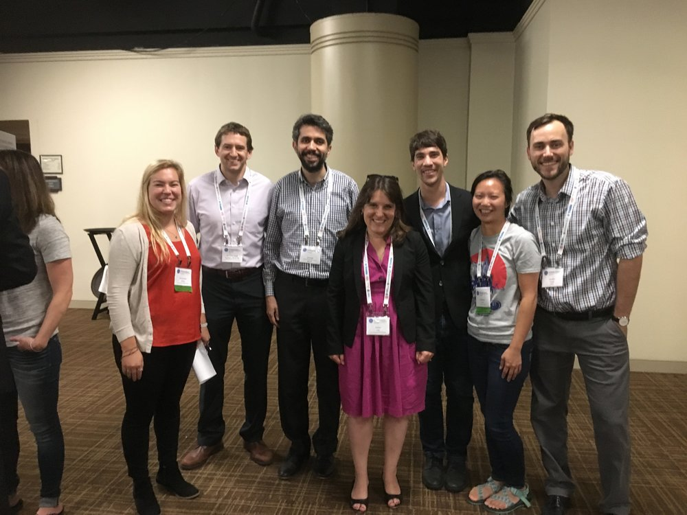 Samantha Grey, M.S. student; D. Jared DeBock, Ph.D., 2013, now Assistant Professor at Chico State; Siamak Sattar, Ph.D. 2012, now Research Structural Engineer at the National Earthquake Hazards Reduction Program at NIST; Abbie Robert Chase, Ph.D. Candidate; Yolanda LIn, M.S. graduate & recent Ph.D. from Cornell University; and Dustin Cook Ph.D. Candidate