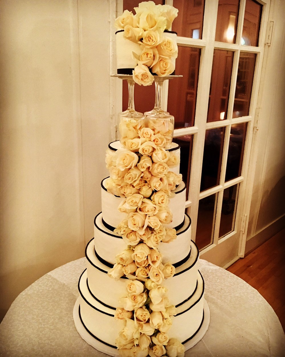 Roses and classic tower cake.jpg