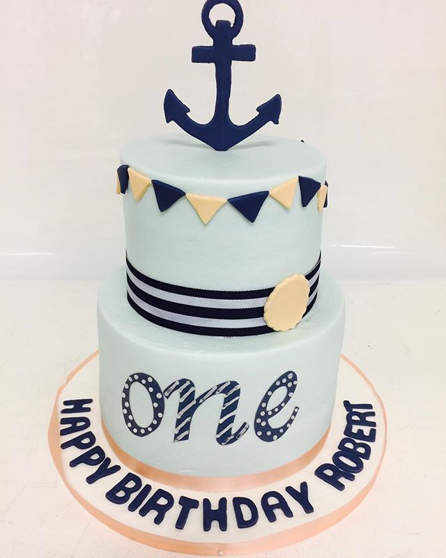 Anchors Away! Celebrating a very precious little clients big day! #firstbirthday #firstbirthdaycake #nauticalcake #one #boybirthdaycakes #cakesatlanta #cakesmarietta #confectionperfectioncakes