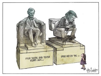 Credit Michael DeAdder from the Hill Times. Probably the best political cartoon from the entire U.S. election and it was published only in Canada.