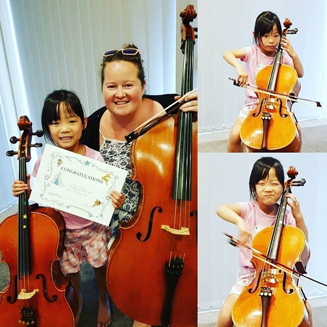 Starting the year off right !! Congratulations to this little cellist on completing Suzuki Book 2 !! 🎶🎻🙃