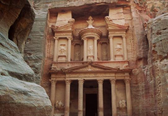 The Historic Treasury at Petra Jordan, a UNESCO site.