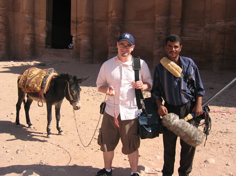 JR, our sound man with a porter at UNESCO World Heritage site, Petra.