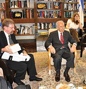 With Shimon Peres and young woman