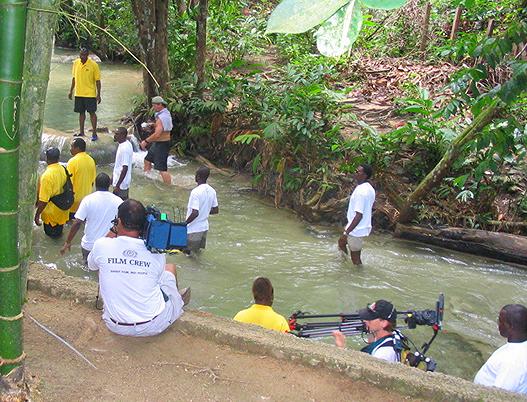 Production crew in Jamaica