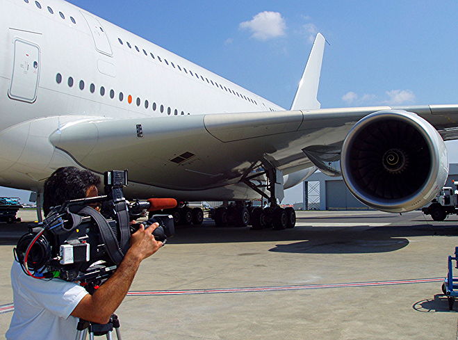 Shooting the exterior the huge A380