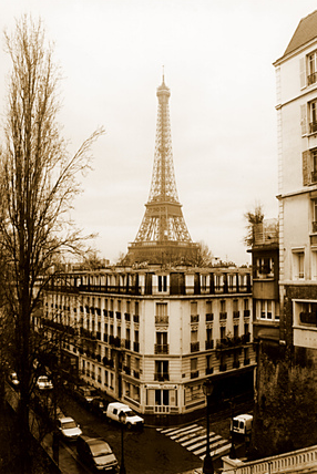 Paris Street scene with Eiffel Tower