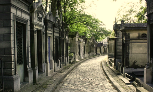 Pathway in Pere Lachaise cemetery in Paris